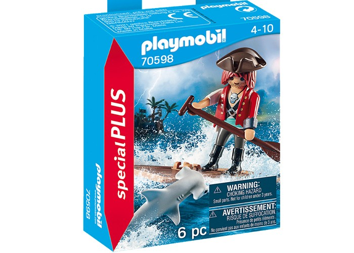 Playmobil 70598  Pirata con balsa y tiburón martillo playmobil