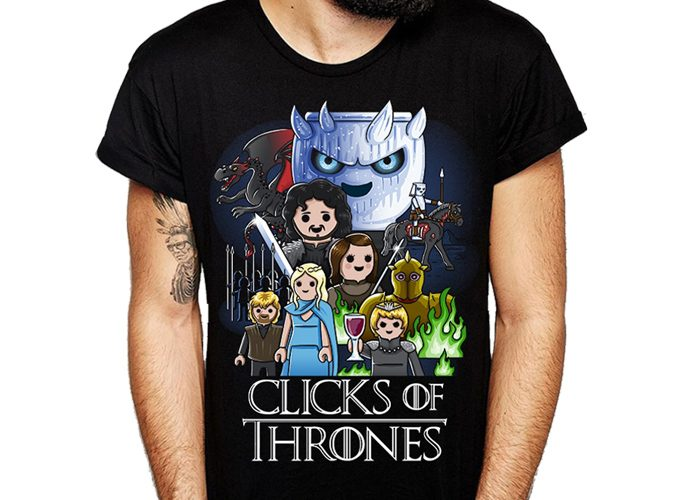 Camiseta Click of Thrones Talla XL Chico playmobil