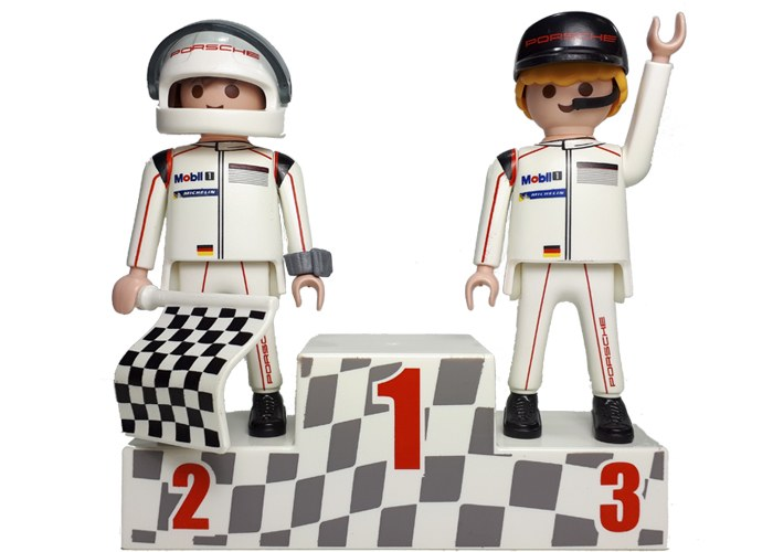 Playmobil Pilotos en Podio Porsche playmobil