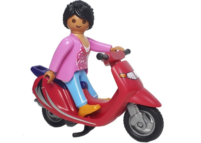 Playmobil Chica con moto Scooter playmobil